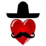 Herrhjärta Färgrika tecken med en mustasch i en stor mexikan Royaltyfri Fotografi