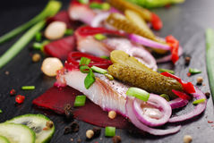 Herring appetizer with beets and gherkin on black slate board Stock Photography