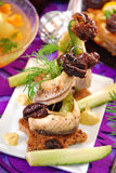 Herring appetizer on christmas eve`s table Stock Image