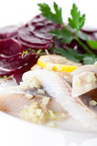 Herring with beets snack Royalty Free Stock Photography