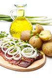 Herring with boiled potato and onion Royalty Free Stock Photo