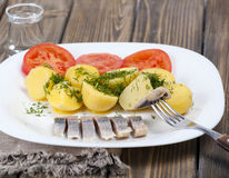 Herring with boiled potatoes Stock Image