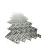 Herring-bone parquet pattern of moneys. Pattern from dollars. A path leaving far Stock Image