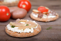 Herring caviar on the toast Royalty Free Stock Images