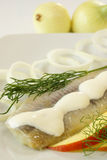 Herring with cream Stock Photo