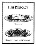 Herring delicacies, vintage food engraving Stock Photography