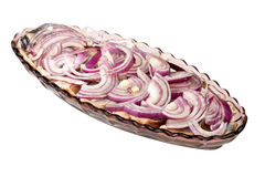 Herring dish. Sliced herring served with fresh red onion Royalty Free Stock Image