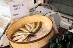 Herring extra for sale at Sineu market, Majorca, Spain. PALMA, SPAIN - OCTOBER 18, 2017: Herring arenque extra for sale at Sineu market, Majorca, Spain Stock Photography