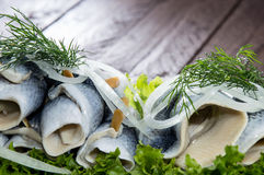 Herring Filets on a plate Stock Photo