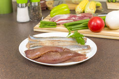 Herring fillet with caviar Royalty Free Stock Photo