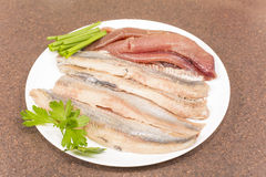 Herring fillet with caviar Stock Photo