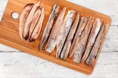 Herring Fillet On Light Background Royalty Free Stock Image