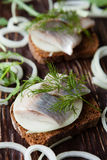 Herring fillets in grain bread Royalty Free Stock Image