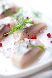 Herring Fillets With Dill And Onion On A Plate Royalty Free Stock Image