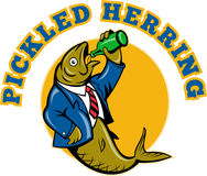 Herring fish drinking beer Stock Images