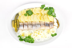 Herring fish fillets with potato and onion Stock Images