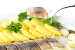Herring fish fillets with potato and onion. Portion of herring fish fillets with potato and onion background Stock Photo