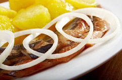Herring fish fillets with potato Stock Photo