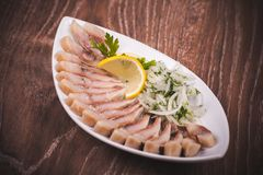 Herring fish with marinated onion Stock Image
