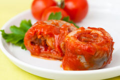 Herring fish roll in tomato sauce Stock Photography