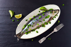 Herring with green onion Stock Image