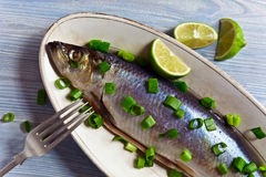 Herring with green onion Stock Photo