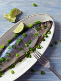 Herring with green onion Royalty Free Stock Image