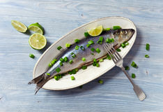 Herring with green onion Stock Photography