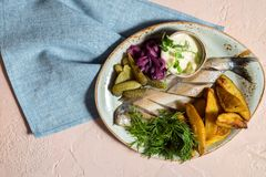 Herring with homemade baked potatoes, pickled pickled cucumber. Fresh greens and lettuce. Belarusian national dish royalty free stock images
