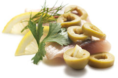 Herring with lemon and olive Royalty Free Stock Image