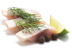 Herring with lime and dill stock photo