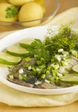 Herring with a lime. Salty sea fish with fennel and  green onions Stock Photo
