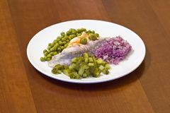 Herring in oils with vegetables Royalty Free Stock Photography