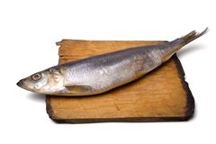 Herring on old wooden board Stock Image