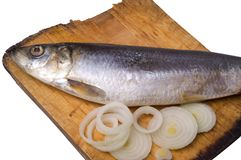 Herring with onion Stock Photos
