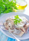 Herring with onion Royalty Free Stock Photos