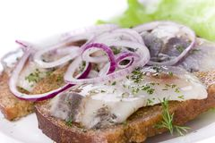 Herring and onion on bread Royalty Free Stock Images