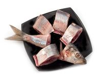 Herring pieces on black plate stock photo