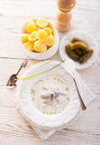 Herring with potato and cream. A tasty herring with potato and cream Royalty Free Stock Image