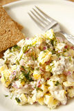 Herring and potato salad with capers on white dish.  Stock Photo