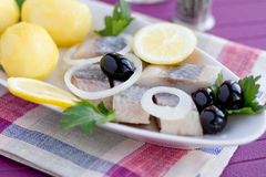 Herring with potatoes Royalty Free Stock Photos