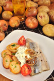 herring with roasted potato Stock Image