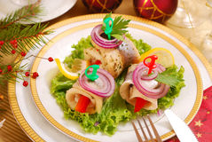 Herring rollmops for christmas royalty free stock photography