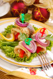 Herring rollmops for christmas stock images
