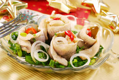 Herring rolls with  chive and onion for christmas Royalty Free Stock Image
