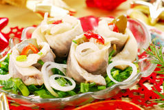 Herring rolls with  chive and onion for christmas Royalty Free Stock Photo