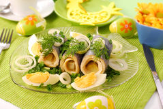 Herring rolls   for easter Royalty Free Stock Photos