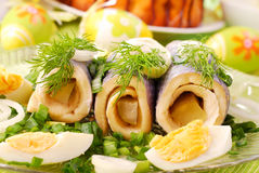 Herring rolls  for easter Stock Images