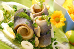 Herring rolls  for easter Royalty Free Stock Image