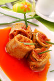 Herring rolls in salsa sauce  for easter Royalty Free Stock Photos